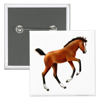Frisky Thoroughbred Foal Square Pin