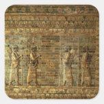 Friso de archers del guardia del rey persa, para calcomanías cuadradass personalizadas