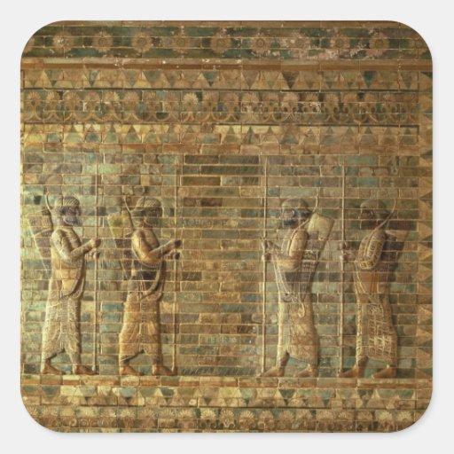Friso de archers del guardia del rey persa, para pegatina cuadrada