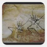 Friso de los ciervos, c.17000 A.C. Pegatina Cuadrada