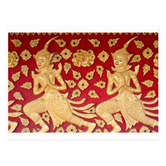Friso del templo, fotografía asiática del arte de postal
