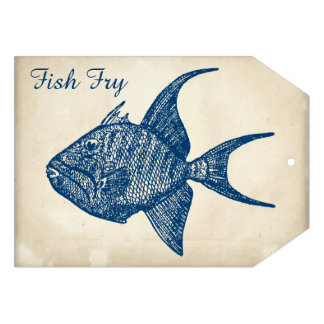 Fritada de pescado azul de papel antigua retra