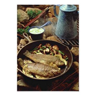 Fritada de pescado deliciosa invitación 12,7 x 17,8 cm