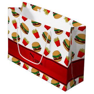 Fritadas blancas conocidas personalizadas de las bolsa de regalo grande