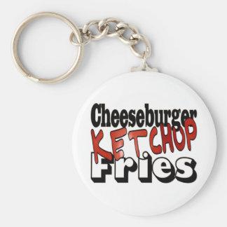 Fritadas de la salsa de tomate del cheeseburger llaveros personalizados