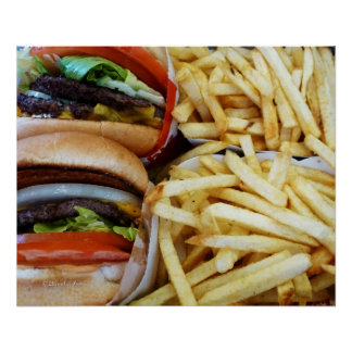 Fritadas de las hamburguesas n póster
