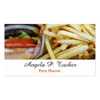 Fritadas de las hamburguesas n tarjetas de visita