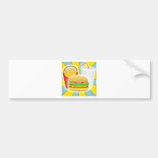 Fritadas y bebida de la hamburguesa etiqueta de parachoque