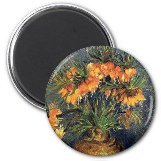 Fritillaries de Van Gogh en un florero de cobre, Imán Redondo 5 Cm