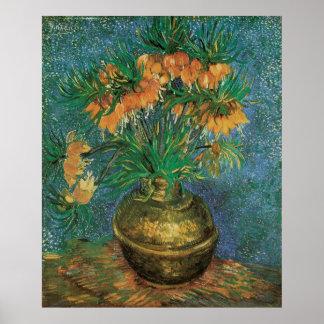 Fritillaries en un florero de cobre de Vincent van Póster