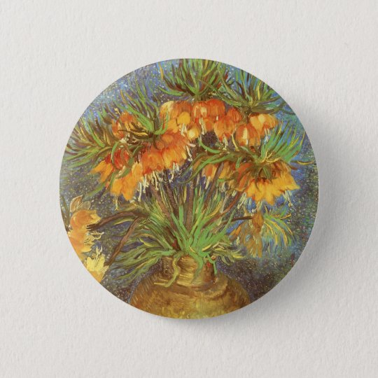 Fritillaries in a Copper Vase by Vincent van Gogh Button
