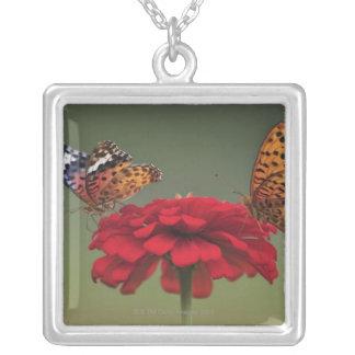 Fritillary Butterfly (Argyreus hyperbius) on 2 Square Pendant Necklace