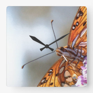Fritillary Butterfly Flower Floral Wildlife Animal Square Wall Clock