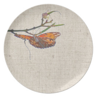 Fritillary Butterfly Flowers Floral Wildlife Melamine Plate
