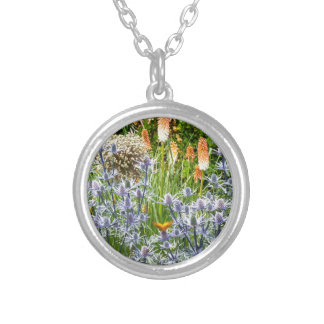 Fritillary Butterfly In A Summer Garden Round Pendant Necklace