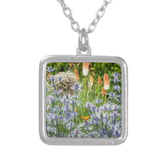 Fritillary Butterfly In A Summer Garden Square Pendant Necklace