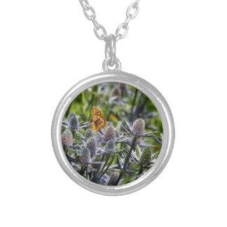Fritillary Butterfly On Blue Thistle Round Pendant Necklace