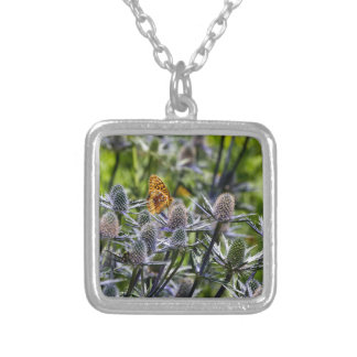 Fritillary Butterfly On Blue Thistle Square Pendant Necklace