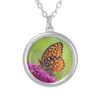 Fritillary Butterfly on Buddleia Round Pendant Necklace