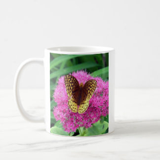 Fritillary Butterfly On Fuschia Flower Classic White Coffee Mug