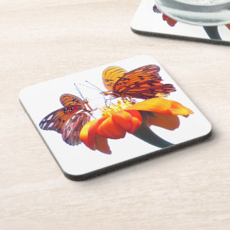 Fritillary Butterfly Sunflower Flower Coaster