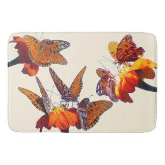 Fritillary Butterfly Sunflower Flowers Bath Mat