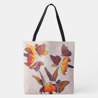 Fritillary Butterfly Sunflower Flowers Floral Tote