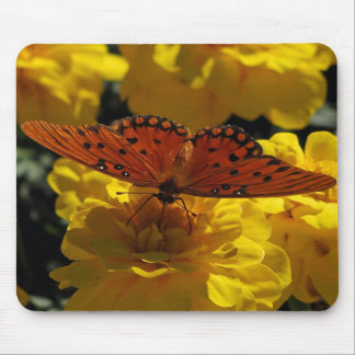 Fritillary butterfly, Yellow Geraniums Mouse Pad