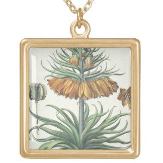 Fritillary: Corona Imperialis florum classe duplic Square Pendant Necklace
