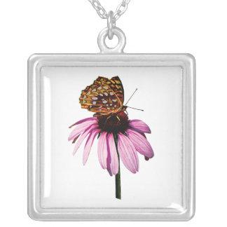Fritillary Purple ConeFlower Square Pendant Necklace