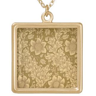 'Fritillary' wallpaper design, 1885 Square Pendant Necklace