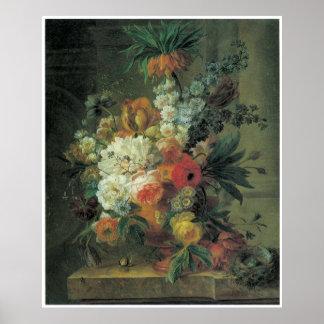 Fritillary y otras flores en una urna de mármol 17 poster
