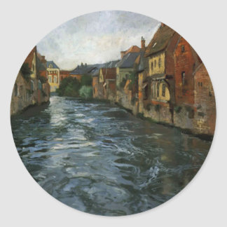 Frits Thaulow- Riverside, View of Abbeville Round Sticker