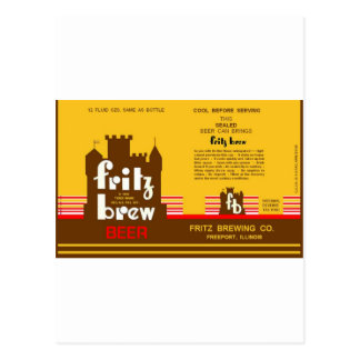 FRITZ BREW CONE TOP BEER CAN DESIGN FREEPORT ILL POSTCARD