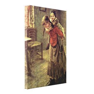 Fritz von Uhde - The big sister Gallery Wrap Canvas
