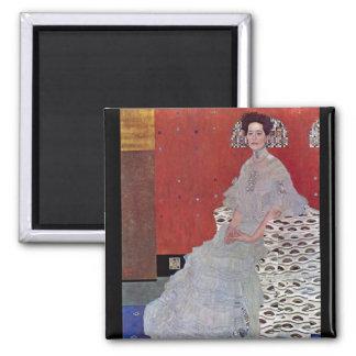 Fritza Reidler Klimt by Gustav Klimt 2 Inch Square Magnet
