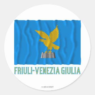 Friuli-Venezia Giulia waving flag with name Round Sticker