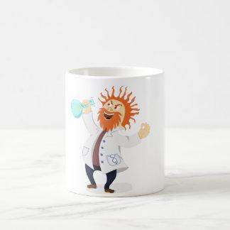 Frizzy Haired Cartoon Mad Scientist Holding Beaker Coffee Mug