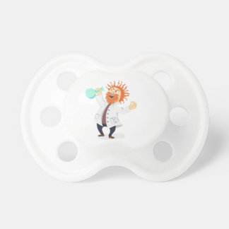 Frizzy Haired Cartoon Mad Scientist Holding Beaker BooginHead Pacifier
