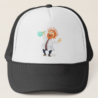 Frizzy Haired Cartoon Mad Scientist Holding Beaker Trucker Hat