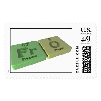Fro as Fr Francium  and O Oxygen Postage Stamps