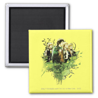 FRODO™ with Hobbits Vector Collage 2 Inch Square Magnet