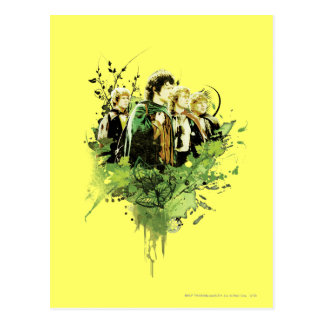 FRODO™ with Hobbits Vector Collage Post Cards