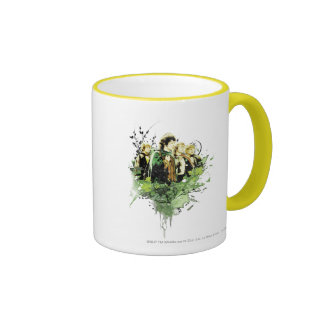 FRODO™ with Hobbits Vector Collage Ringer Mug