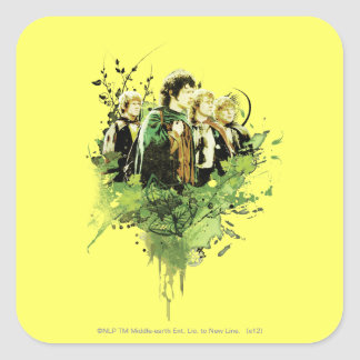 FRODO™ with Hobbits Vector Collage Square Sticker