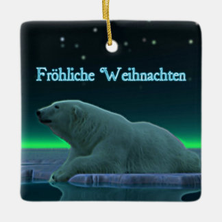 Froehliche Weihnachten - Ice Edge Polar Bear Ceramic Ornament