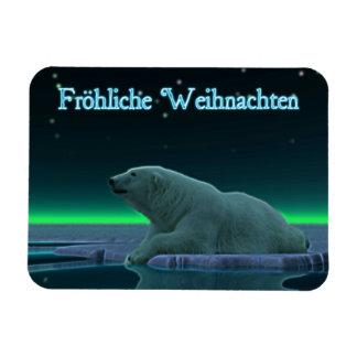 Froehliche Weihnachten - Ice Edge Polar Bear Magnet