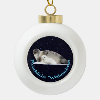 Froehliche Weihnachten - Ringed Seal Ceramic Ball Christmas Ornament