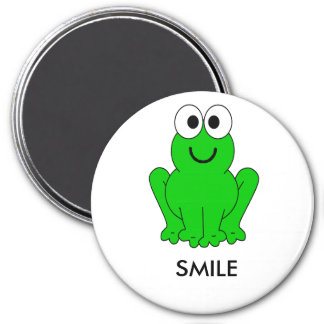 frog1, SMILE 3 Inch Round Magnet
