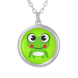 frog-152631 frog amphibian animal green happy smil necklace
